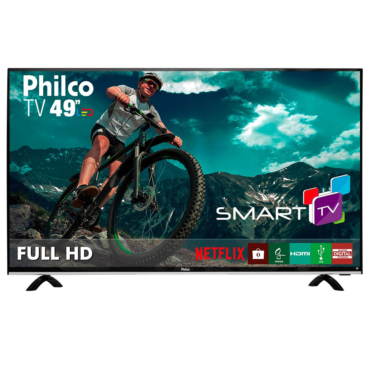 "Smart TV LED 49"" Philco Full HD com Conversor Digital 3 HDMI 1 USB Wi-Fi 60Hz - Preta -  PTV49e68dSWN"
