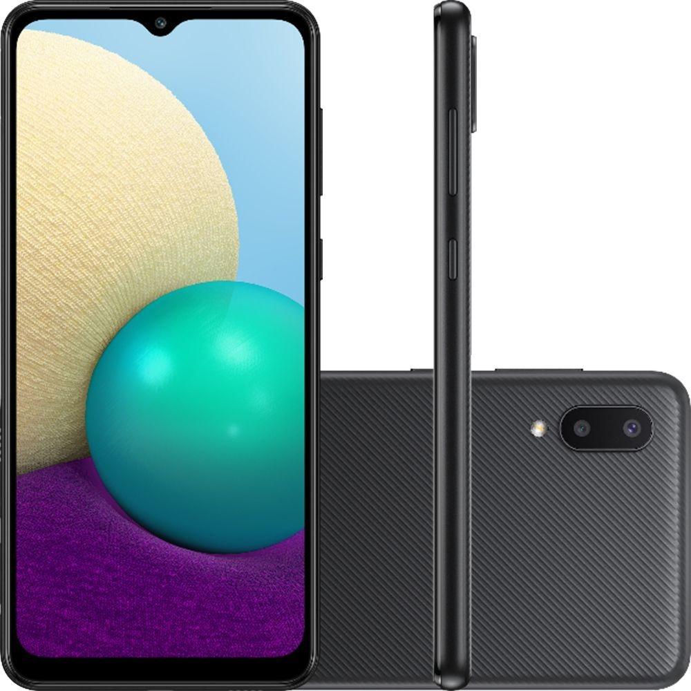 Smartphone Samsung Galaxy A02 32GB 4G Wi-Fi Tela 6.5'' Dual Chip 2GB RAM Câmera Dupla + Selfie 5MP - Preto