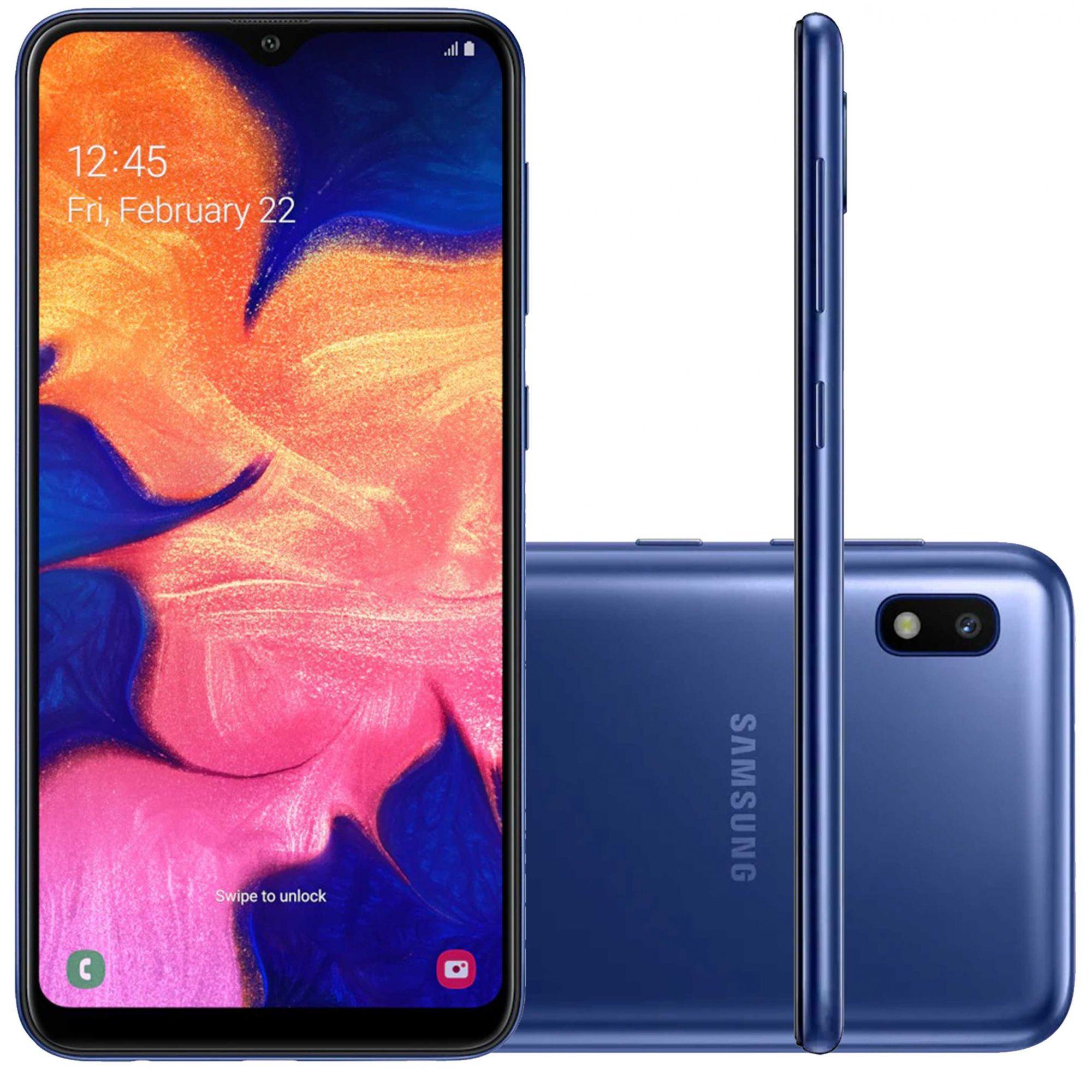 "Smartphone Samsung Galaxy A10 32GB Dual Chip Android 9.0 Tela 6.2"" Octa-Core 4G Câmera 13MP - Azul"