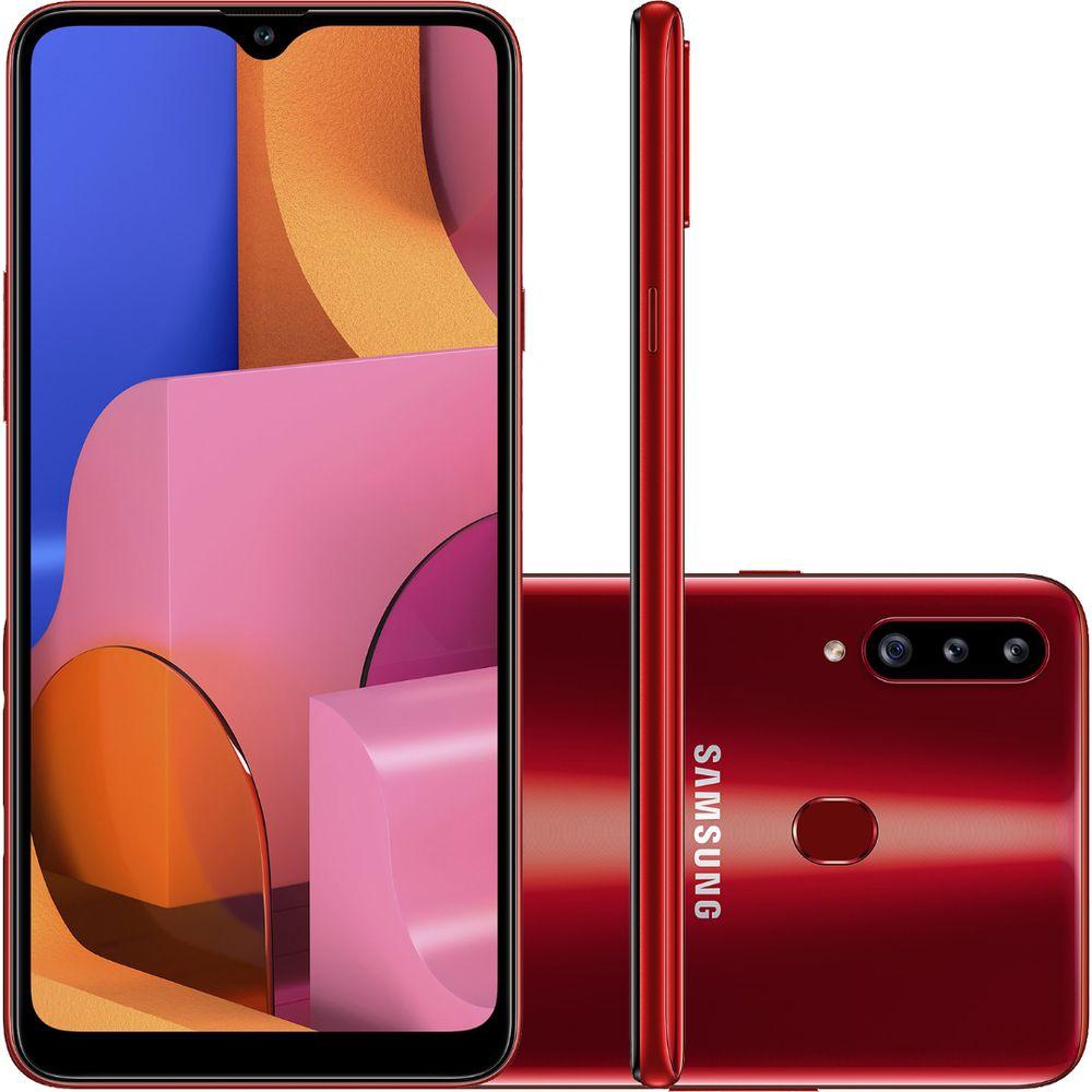 """Smartphone Samsung Galaxy A20s 32GB Dual Chip Android 9.0 Tela 6.5"""" Octa-Core 1.8 GHz 4G Câmera Tripla - Vermelho"""