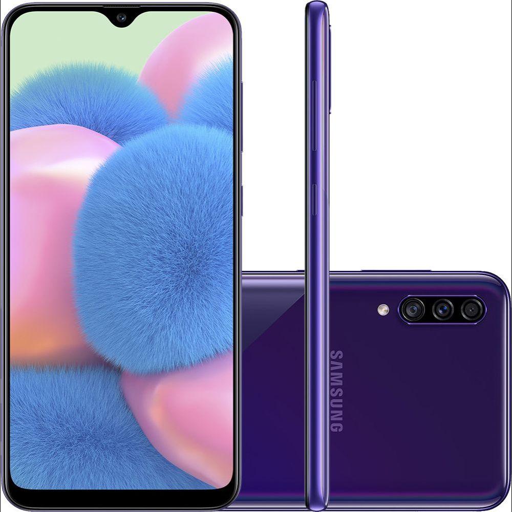 "Smartphone Samsung Galaxy A30s 64GB Dual Chip Android 9.0 Tela 6.4"" Octa-Core 4G Câmera Tripla - Violeta"