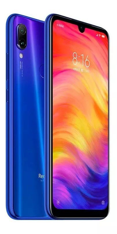"Smartphone Xiaomi Redmi Note 7 Dual Chip 64GB Tela 6.3""FHD+ Camera Dupla 48+5MP/13MP OS 9.0 Versão Global - Neptune Blue"