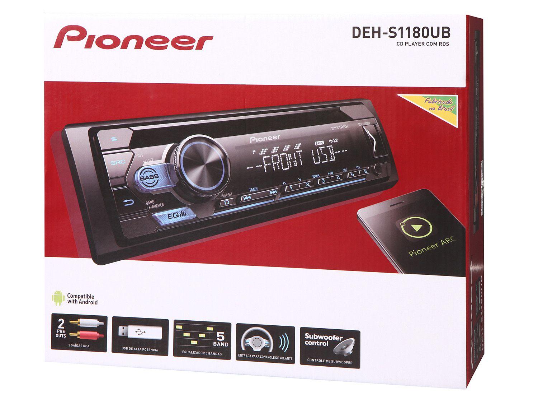 Som Automotivo Pioneer CD e MP3 Player DEH-S1180UB Mixtrax, Entrada USB e Auxiliar, Rádio AM/FM Interface para Android