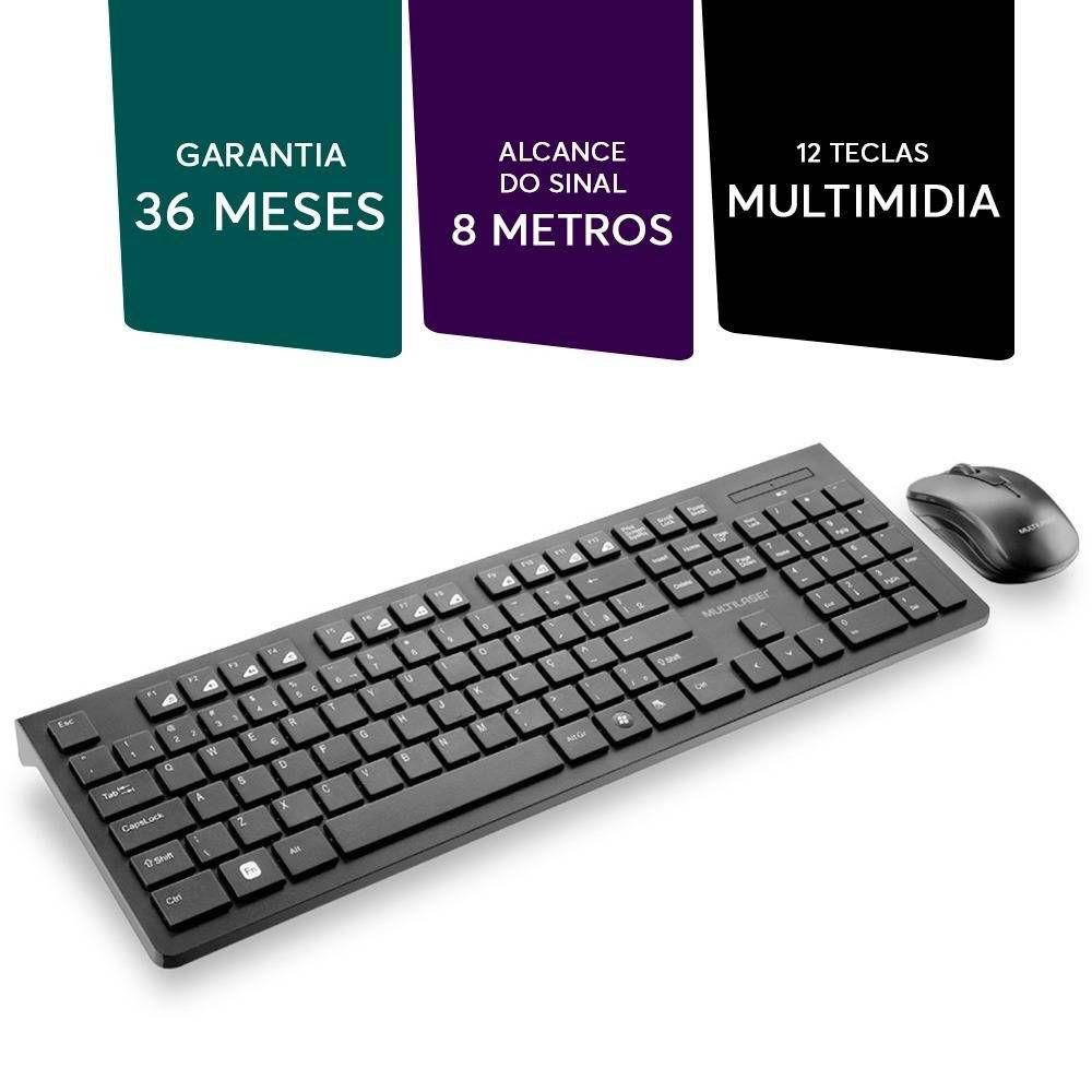 Teclado e Mouse Sem Fio 2.4 GHZ Teclas Flutuantes USB Preto - TC251