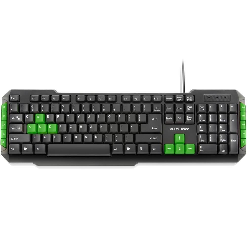 Teclado Multilaser Gamer Multimídia Green Keys USB TC160