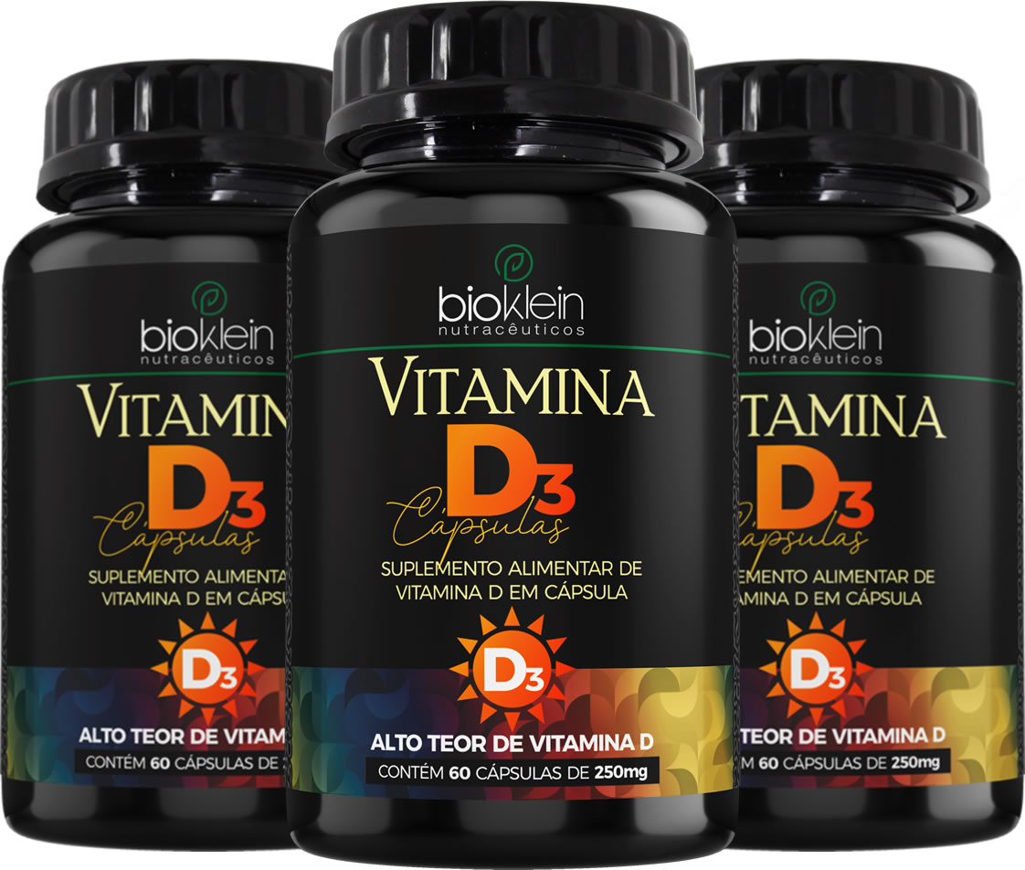 3x Vitamina D3 180 Cápsulas (3x60) de 250mg Bioklein