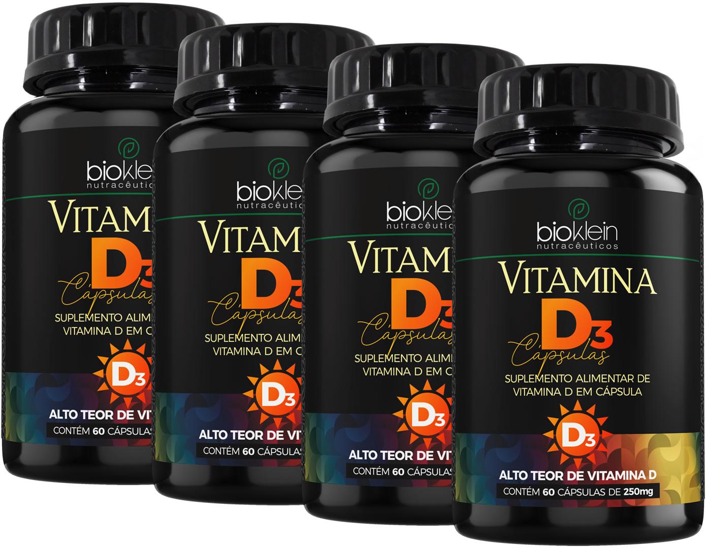 4x Vitamina D3 240 (4x60) Cápsulas de 250mg Bioklein