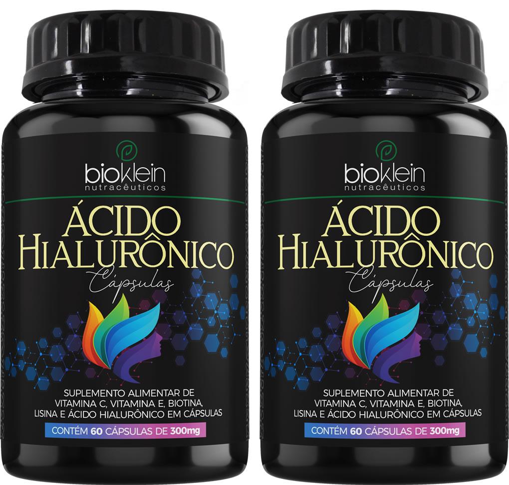 Ácido Hialurônico 150mg 120 Cáps (2x60) c/ Vit C E Bioklein