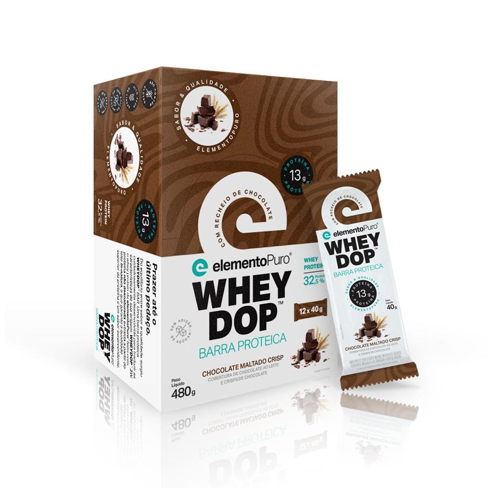 Barra de Proteína Wheydop Bar 12 unidades Chocolate Maltado Elemento Puro