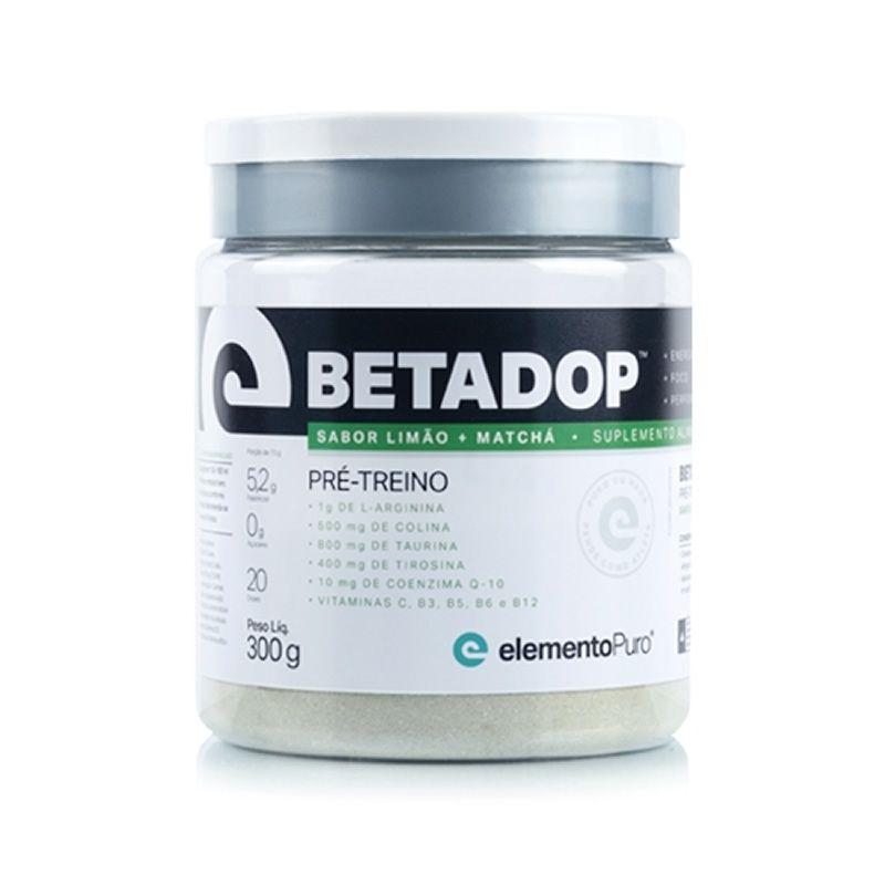 Betadop Pré Treino Zero Cafeína 300g Elemento Puro - Limão com Matchá