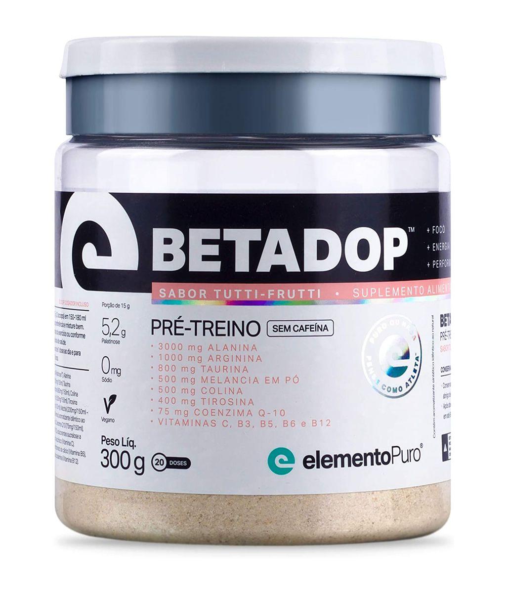 Betadop Pré Treino Zero Cafeína 300g Elemento Puro - Tutti-Frutti