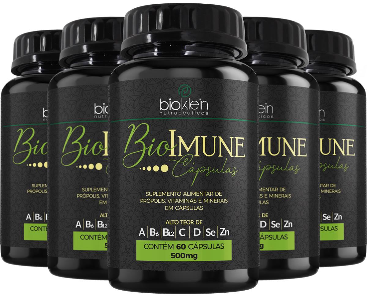 BioImune + Imunidade C/ Própolis 300 Cáps (5x60) Bioklein