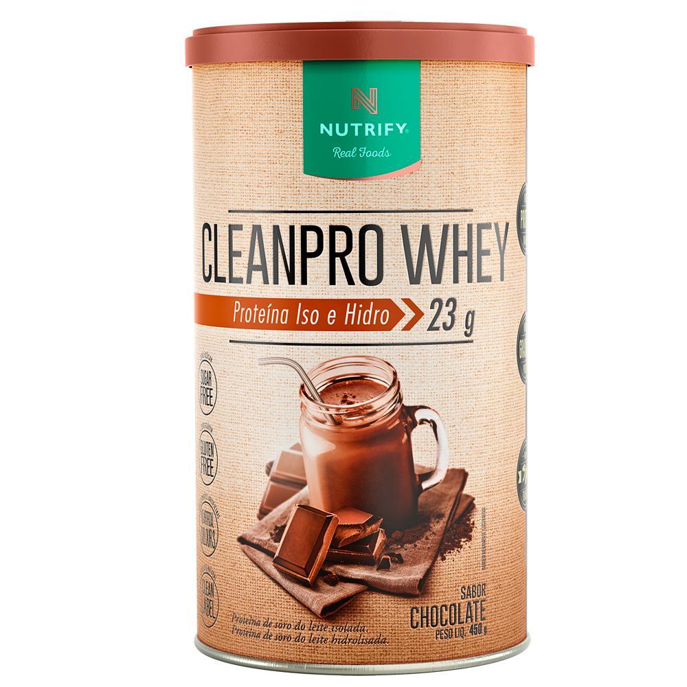 CleanPro Whey Protein Isolado e Hidrolisado Nutrify 450g Chocolate