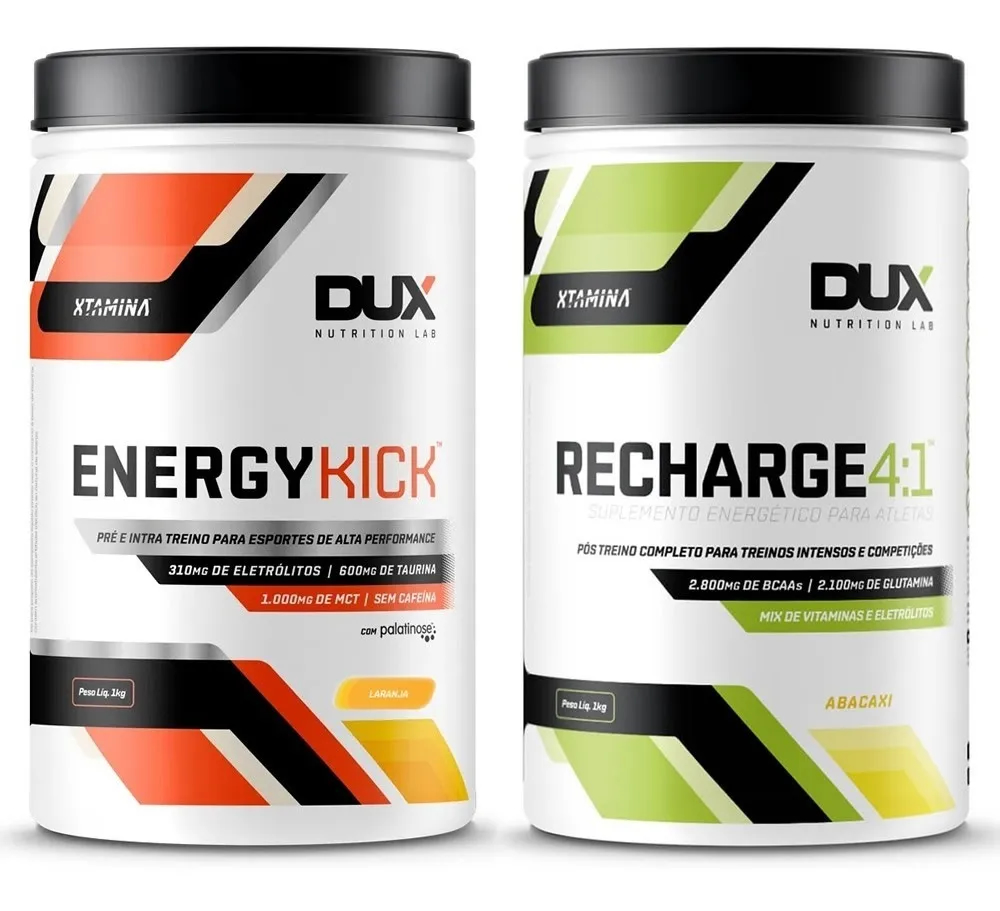 Combo Energy Kick Laranja + Recharge 4:1 Abacaxi - Dux