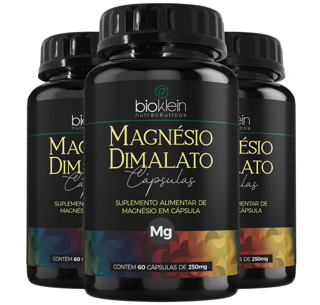 Magnésio Dimalato 130mg 180 Cápsulas (3x60) Bioklein