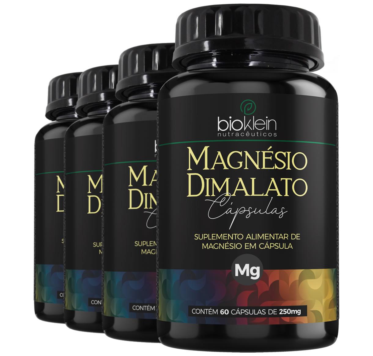 Magnésio Dimalato 130mg 240 Cápsulas (4x60) Bioklein