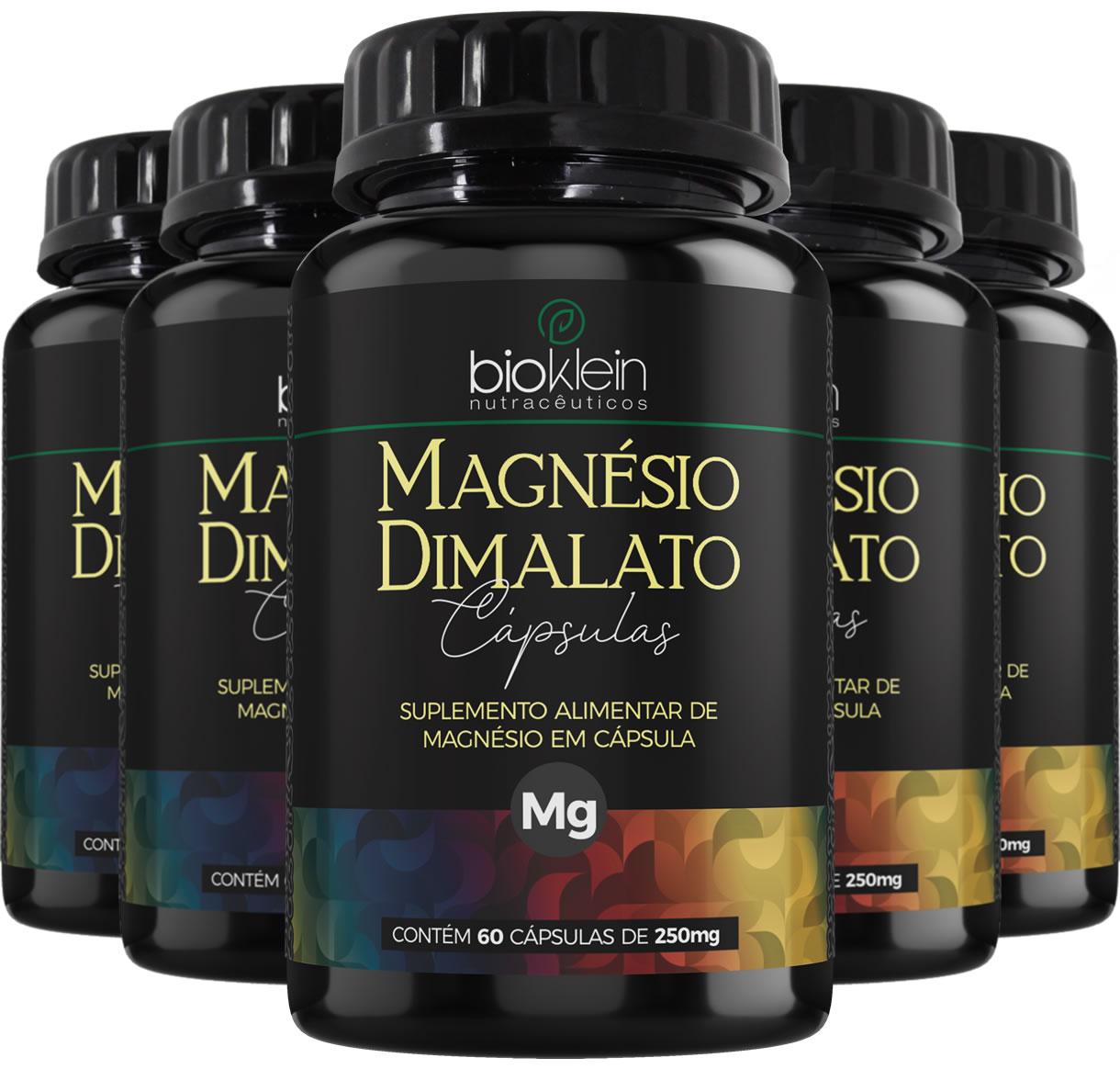 Magnésio Dimalato 130mg 300 Cápsulas (5x60) Bioklein
