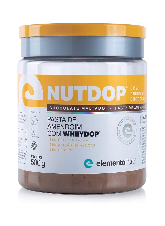 Nutdop Pasta de Amendoim Proteica Chocolate Maltado 500g Elemento Puro