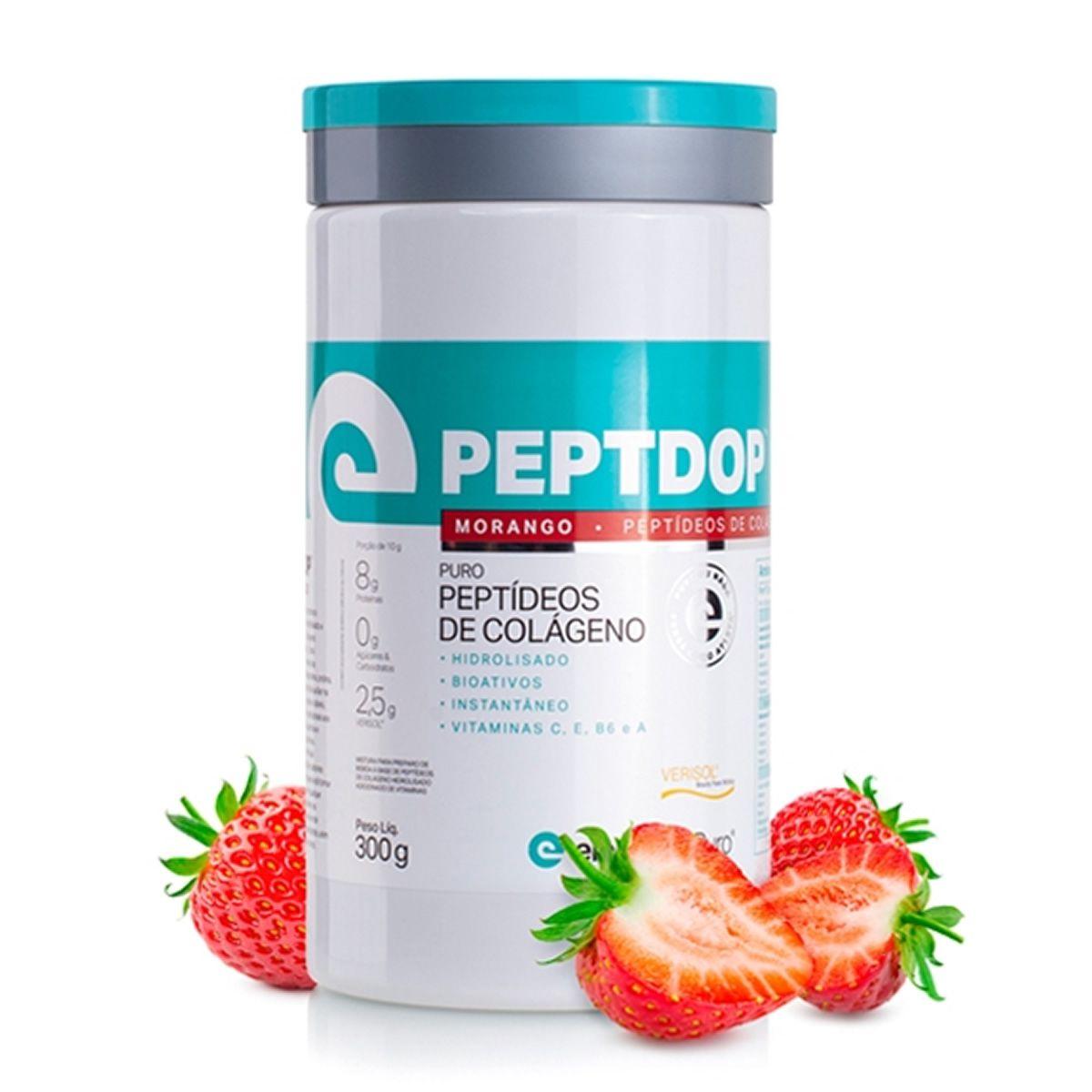 Peptdop Colágeno Hidrolisado 300g Elemento Puro - Morango