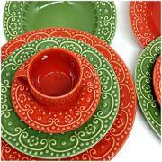 Aparelho de Jantar 30 peças Vermelho e Verde Sálvia Porto Brasil Esparta