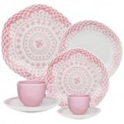Aparelho de Jantar Rosa 42 Peças Oxford  Ryo Paris Porcelana