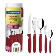 Faqueiro Tramontina Ipanema com Lâminas em Aço Inox e Cabos de Polipropileno com Pote Plástico 30 Peças - Vermelho