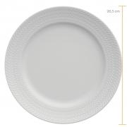 Jogo de Pratos Rasos Brancos Porcelana Germer Chevron 6 Unidades