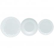 Jogo de Pratos Rasos Fundos e Sobremesa Porcelana Oxford Mia 6 Unidades