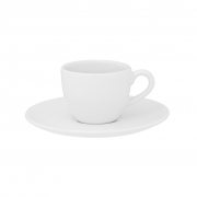 Jogo de Xícaras de Cafezinho Brancas Porcelana Oxford Coup White 75ml 6 Unidades