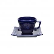 Jogo de Xícaras de Cafezinho Porcelana Oxford Azul Royal 65ml 6 Unidades
