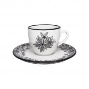 Jogo de Xícaras de Chá Porcelana Oxford Floresta Negra 200ml 6 Unidades