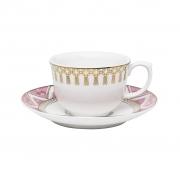 Jogo de Xícaras de Chá Porcelana Oxford Macramê 240ml 6 Unidades