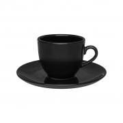 Jogo de Xícaras de Chá Pretas Porcelana Oxford Coup Black 200ml 6 Unidades