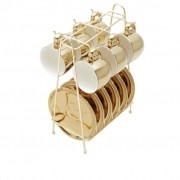 Xícaras de Cafezinho de Porcelana Dourado e Branco Wolff Versa 90 ml 6 unidades com suporte