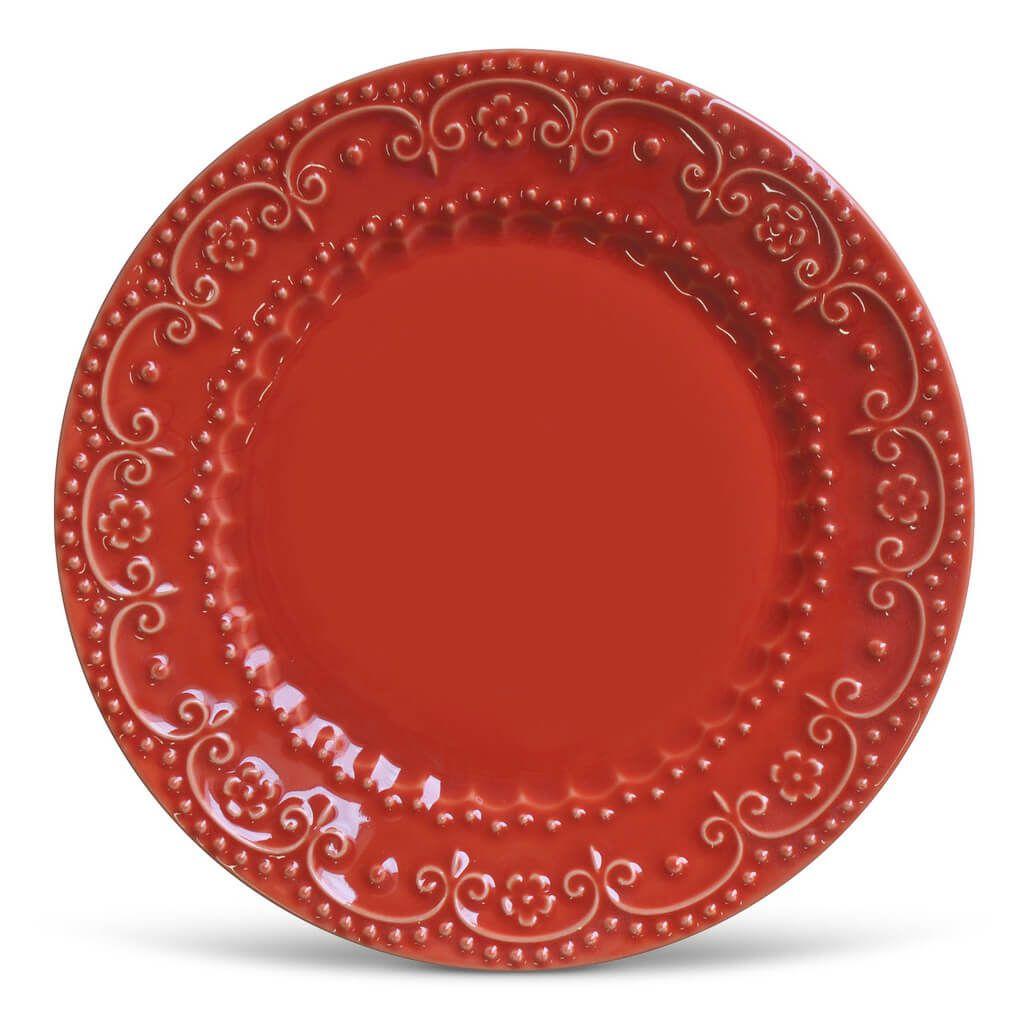 Aparelho de Jantar Vermelho 30 peças Porto Brasil Esparta