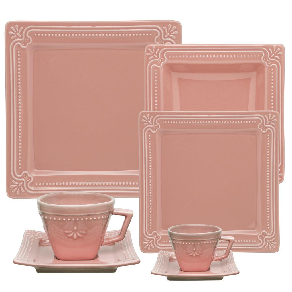 Aparelho de Jantar 42 Peças Porcelana Rosa Oxford Vintage