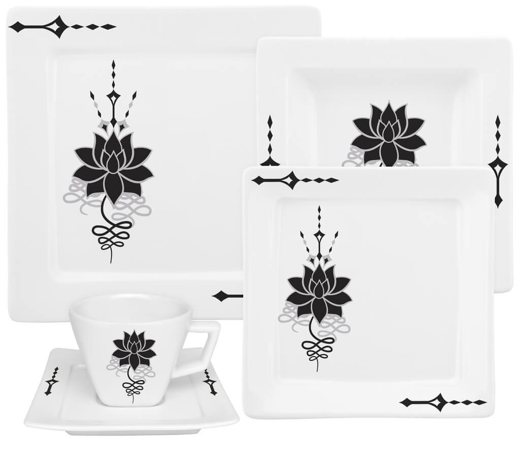 Aparelho De Jantar de Porcelana 20 Peças Lótus Nara Oxford