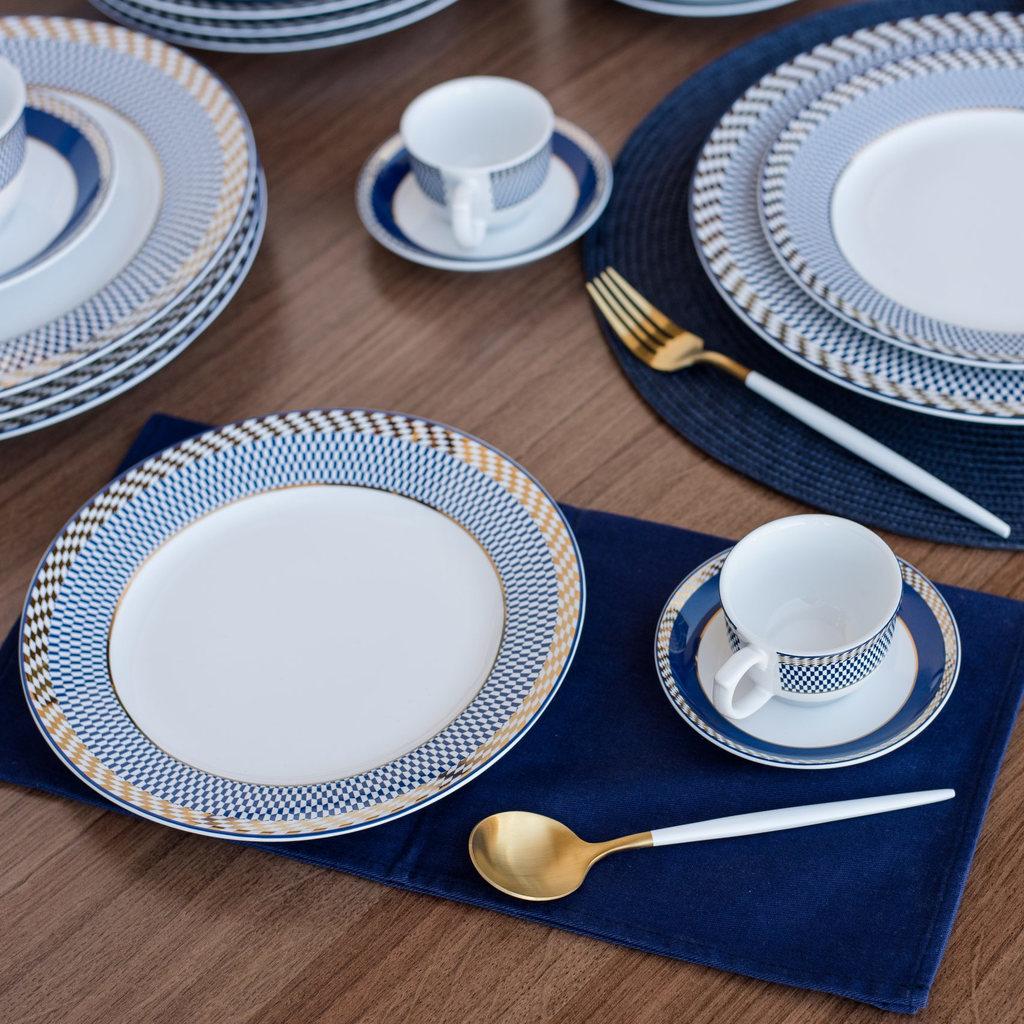 Aparelho de Jantar em Porcelana 20 Peças Oxford Flamingo Op Art - 4 Lugares