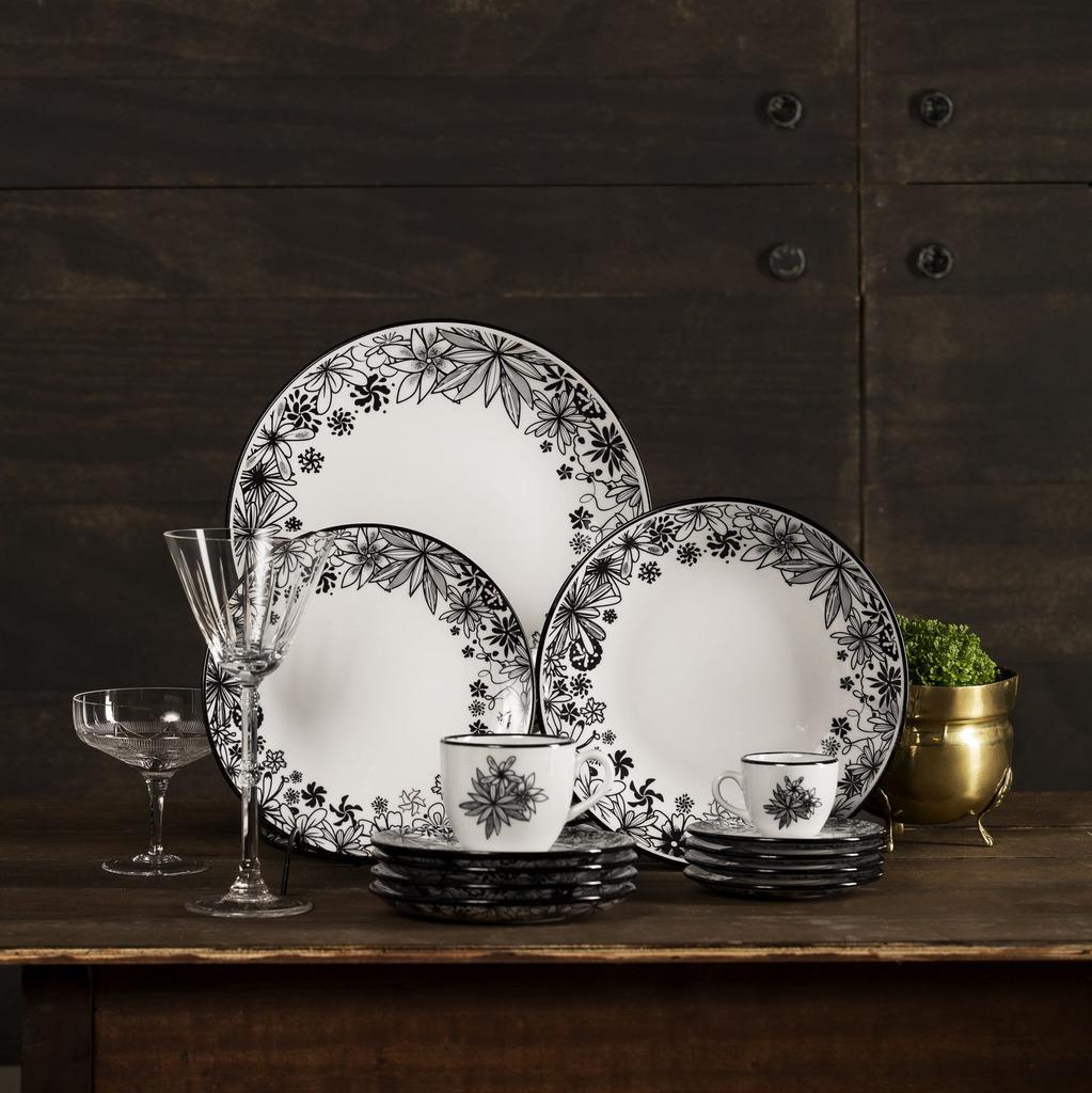 Aparelho de Jantar em Porcelana 30 Peças Oxford Floresta Negra - 6 Lugares