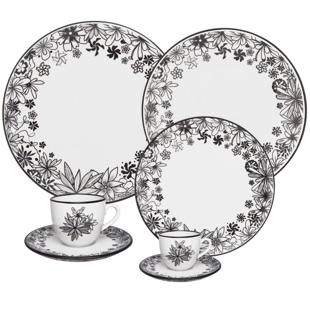 Aparelho de Jantar em Porcelana 42 Peças Oxford Floresta Negra - 6 Lugares