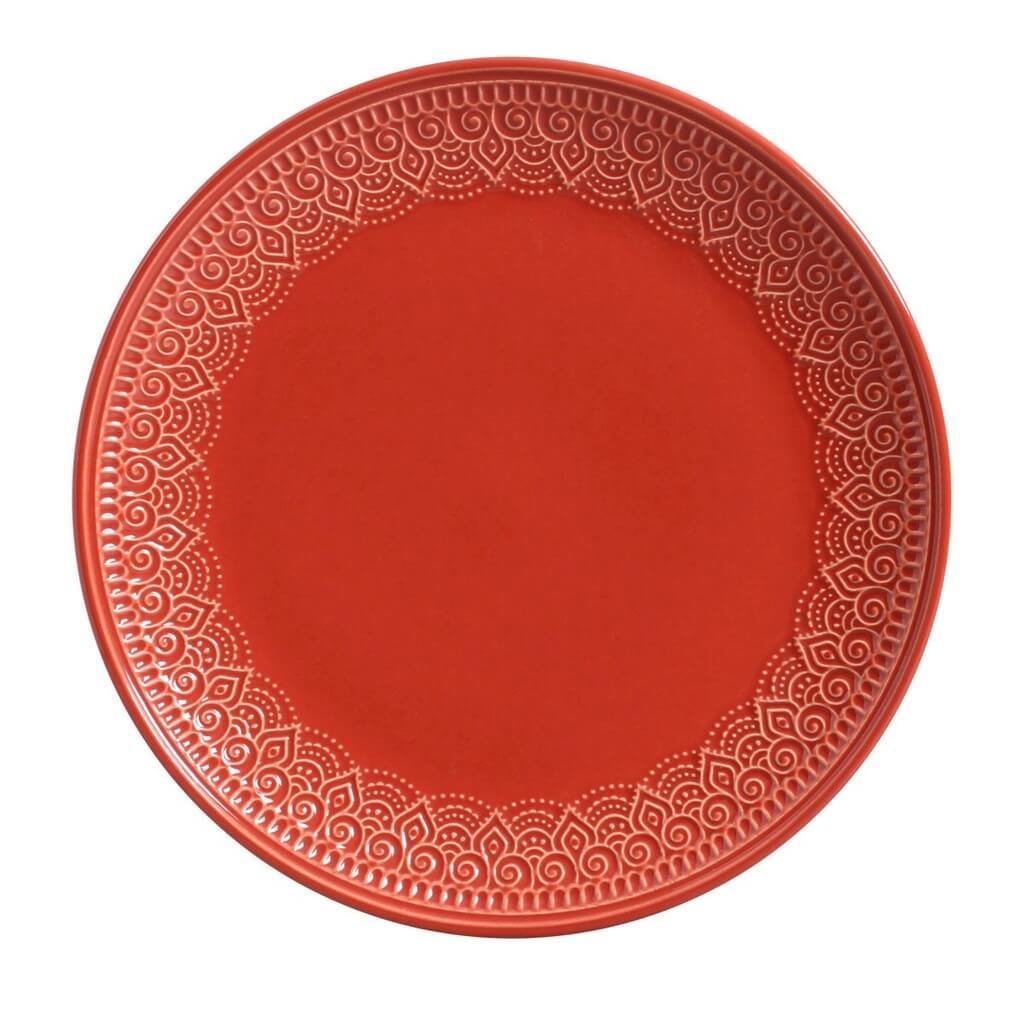 Aparelho de Jantar Vermelho 42 Peças Agra Porto Brasil