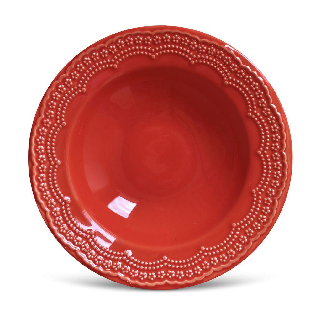 Aparelho de Jantar Vermelho 42 Peças Porto Brasil Madeleine