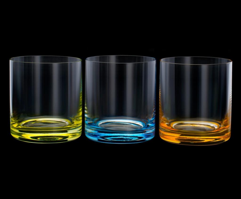 Conjunto de Copos de Cristal Ecológico para Whisky Bohemia Favorit Coloridos 310ml