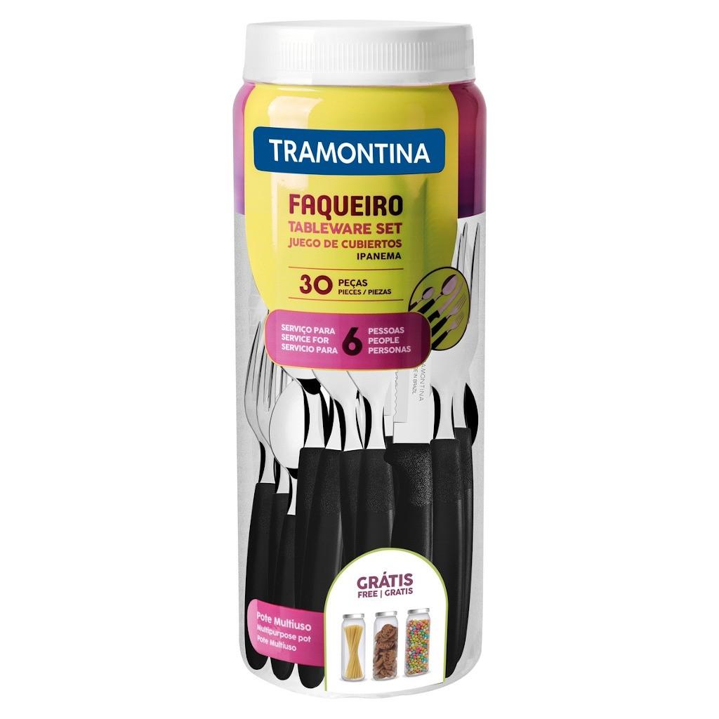 Faqueiro Tramontina Ipanema com Lâminas em Aço Inox e Cabos de Polipropileno com Pote Plástico 30 Peças - Preto