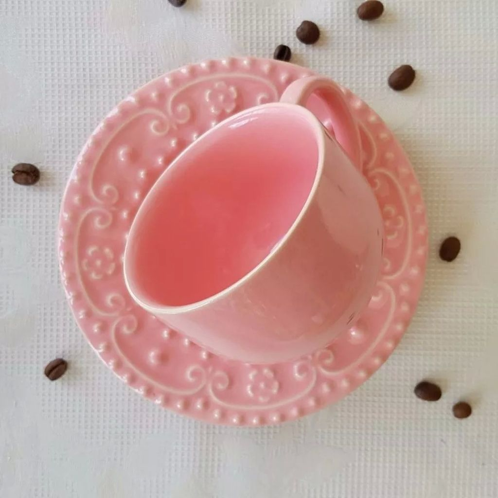 Jogo de Chá Rosa Porto Brasil Esparta Sobremesa e Xícaras Chá 6 Unidades Cada