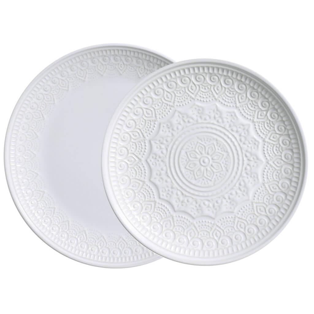 Jogo de Pratos Branco Rasos e de Sobremesa Agra 6 Unidades