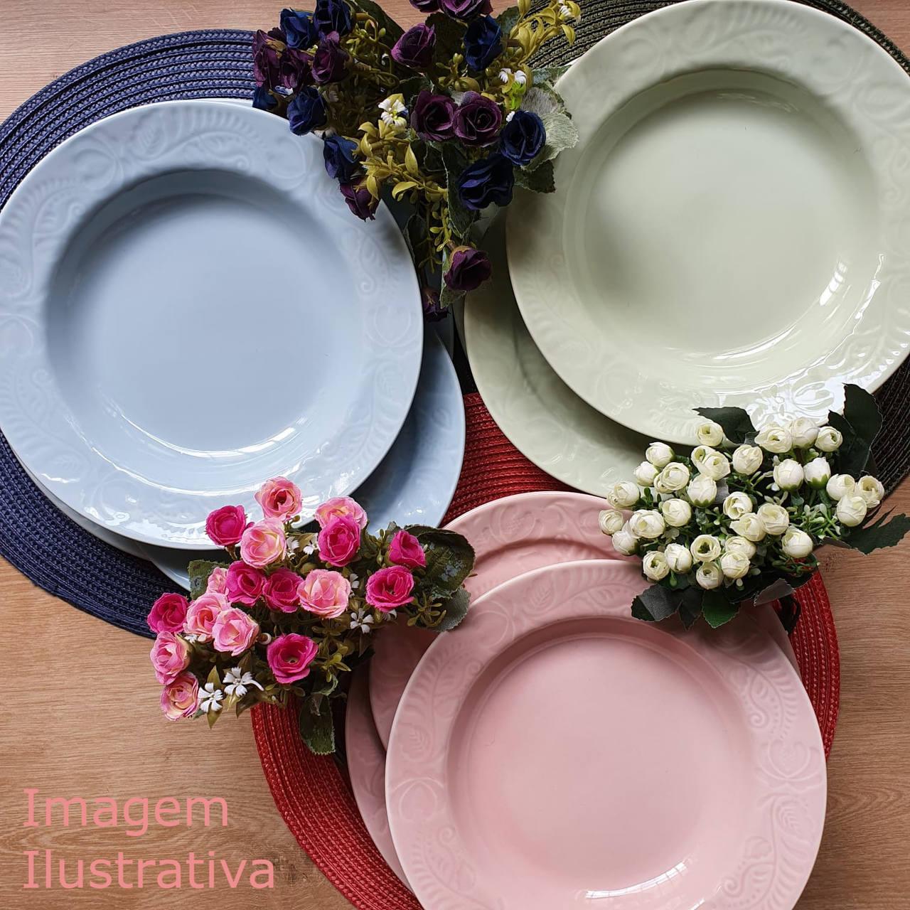 Jogo de Pratos de Porcelana de Sobremesa Colorê Germer Folk 6 Unidades