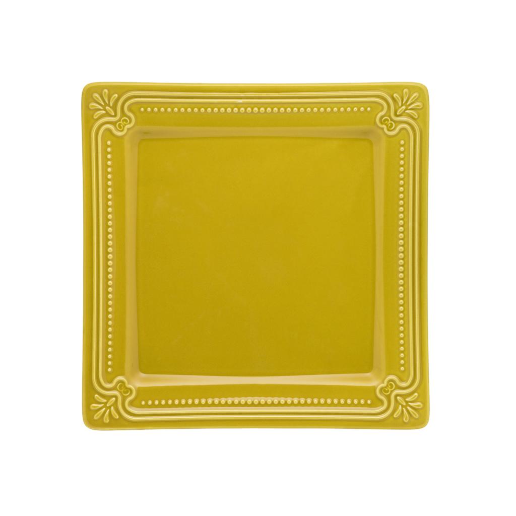 Jogo de Pratos de Sobremesa Amarelo Mostarda Porcelana Oxford Minas 6 Unidades