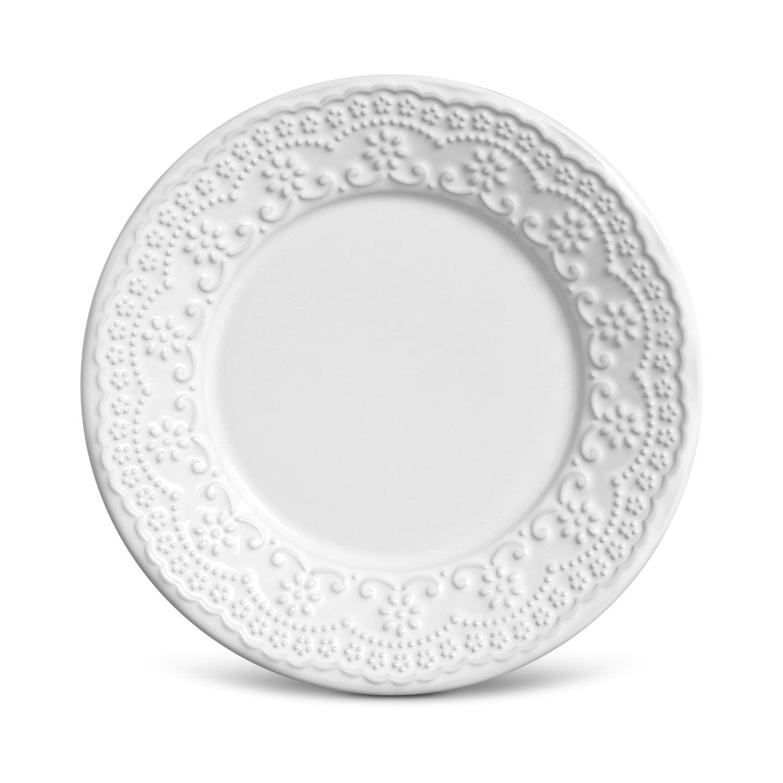 Jogo de Pratos de Sobremesa Branco Porto Brasil Madeleine 12 Unidades