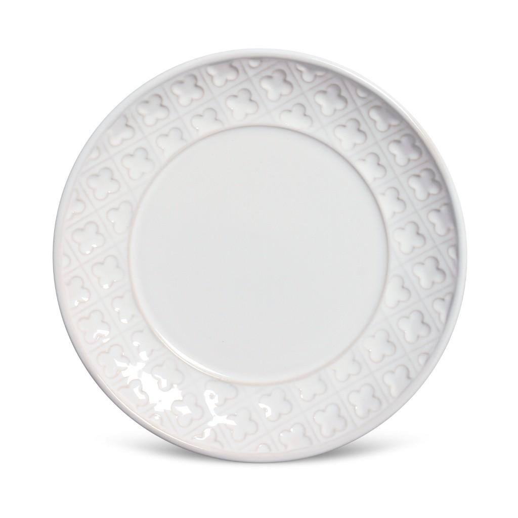 Jogo de Pratos De Sobremesa Branco Porto Brasil Relief 6 Unidades